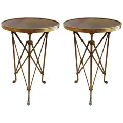 Neoclassical Pair French Bronze Granite Round Regency Gueridon Tables Paw Feet