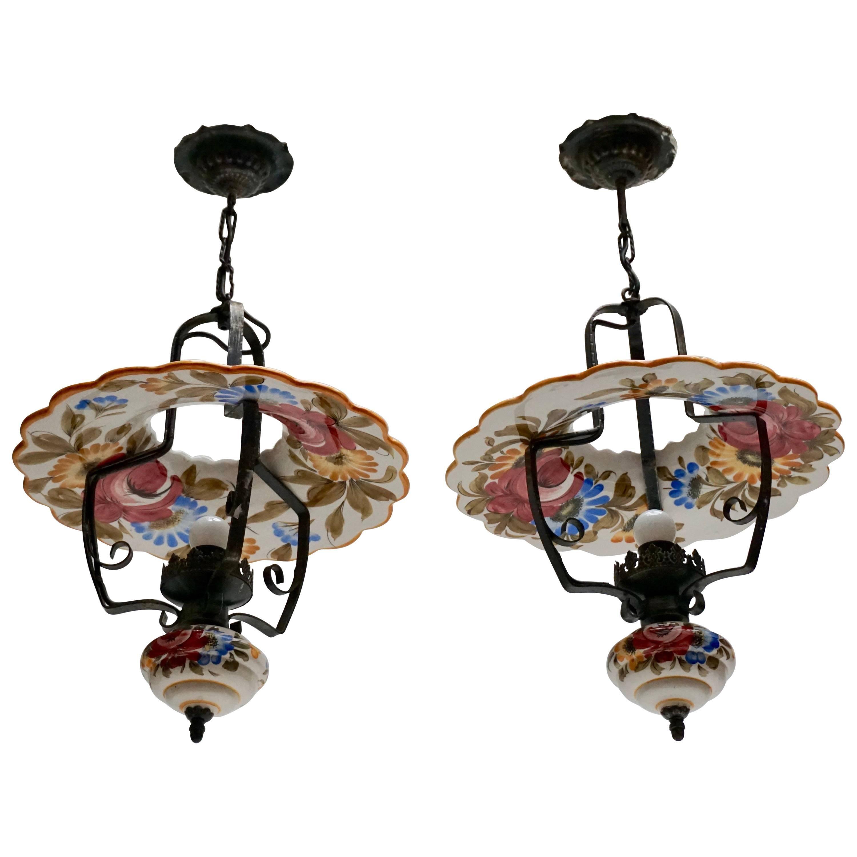 Two Porcelain Pendant Lights