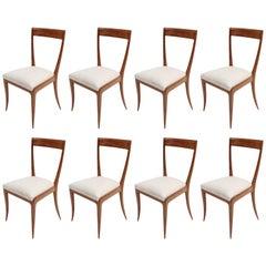 Set of Eight Scapinelli 1960s Brazilian Caviuna Dining Chairs in Beige Linen