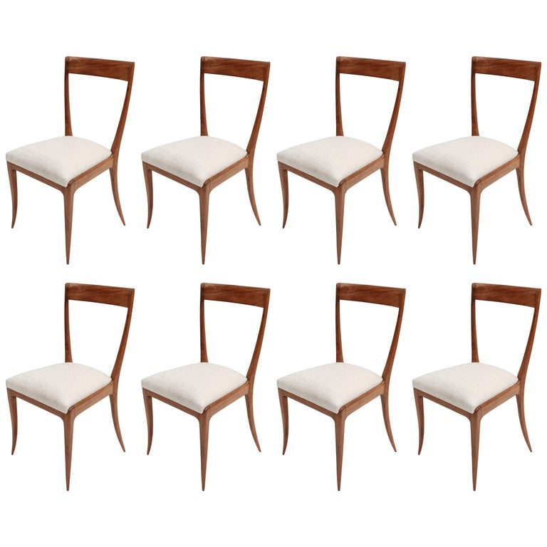 Set of Eight Scapinelli 1960s Brazilian Caviuna Dining Chairs in Beige Linen