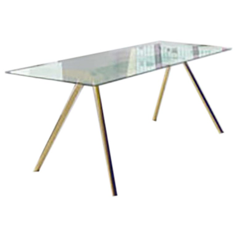 New Tendency Masa Table with Iridescent Glass Top & Brass Base