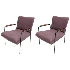 Pair of 1960s Brazilian Jacaranda and Metal Armchairs in Violet Linen