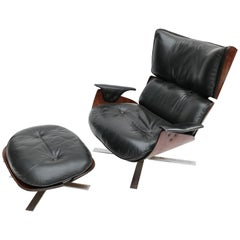 Zalszupin 1960s Brazilian Jacaranda Paulistana Chair and Ottoman