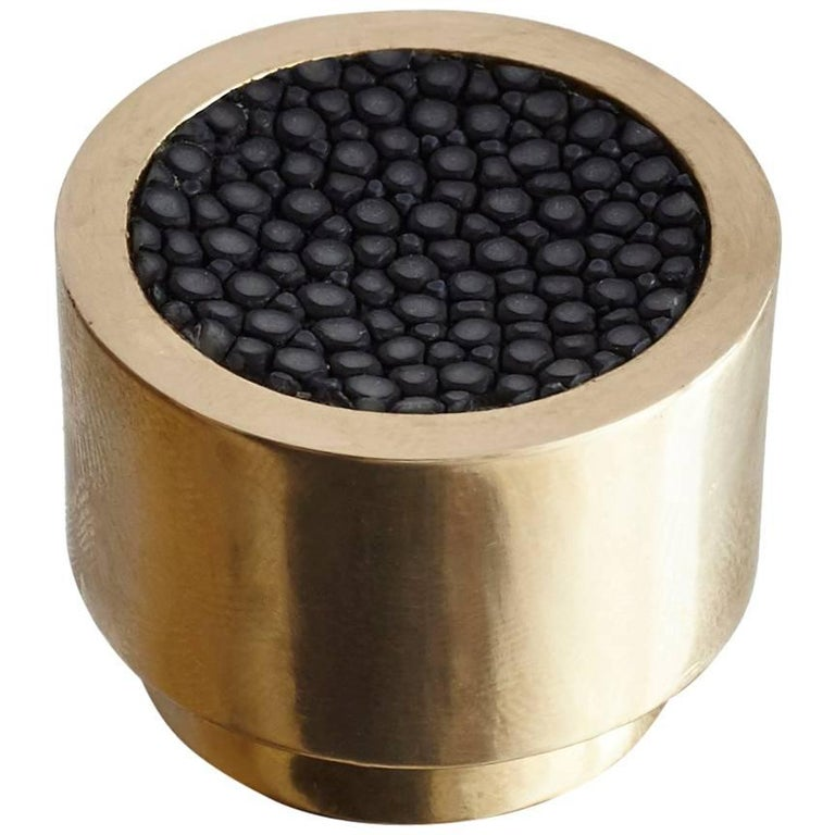 Caviar Dial Solid Brass Knob with Shagreen Inlay For Sale