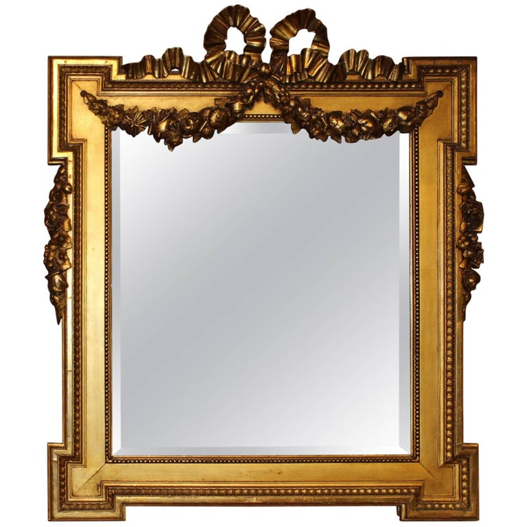 Large French Louis XVI Style Giltwood Mirror with Ribbon & Swag Decoration