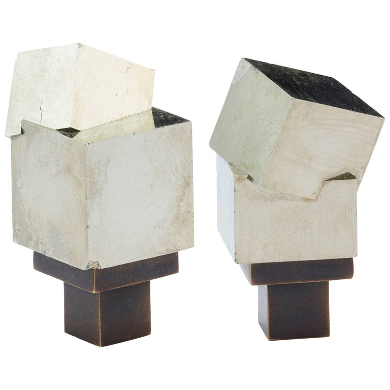 Pyrite and Solid Bronze Knob For Sale