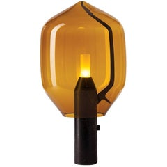 Lighthouse Table Light, Venini Amber Shade with Belgian Black Marble Base