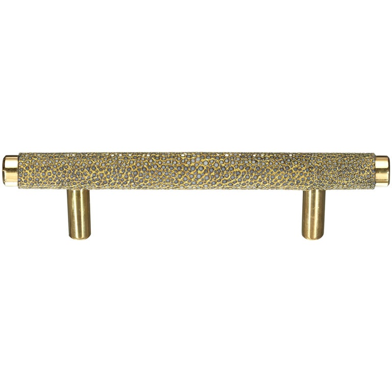 """""""Caviar"""" Solid Brass and Wrapped Shagreen T-Bar Cabinet Pull"""