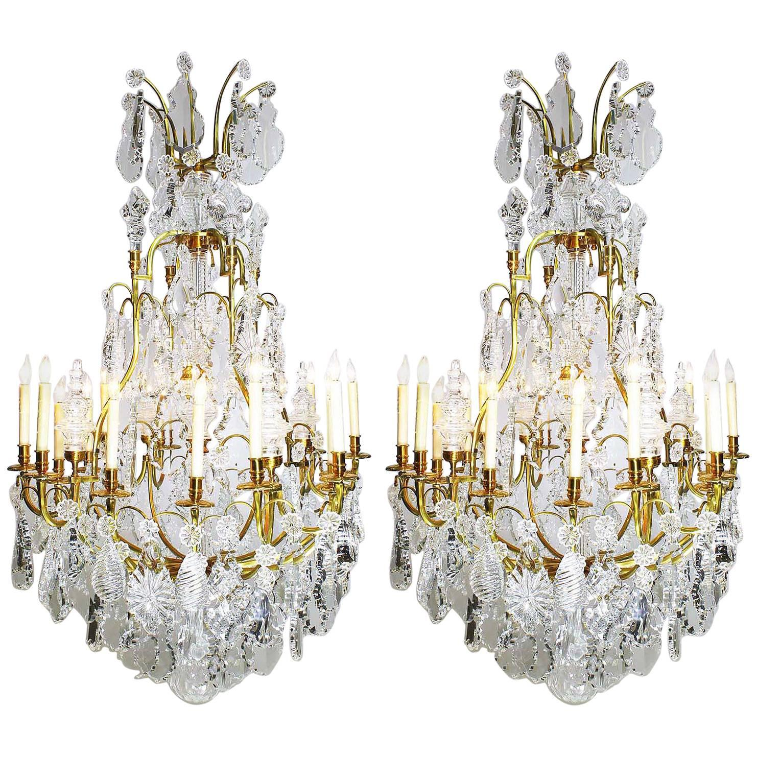 Pair of Louis XV Style 16-Light Chandeliers, Manner of Baccarat