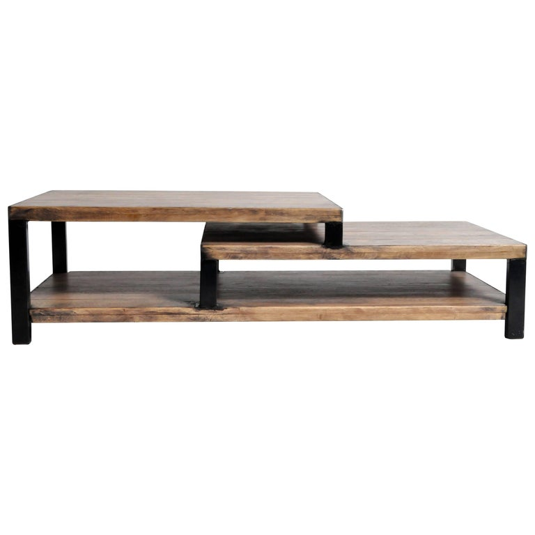 Two Step Oak Wood Coffee Table with Iron Frame