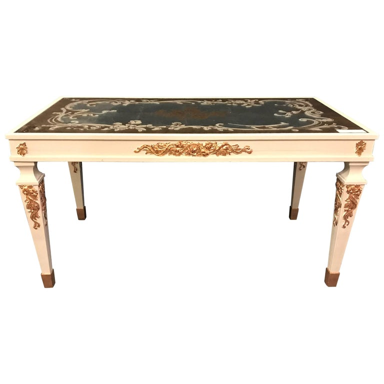 Hollywood Regency Eglomise Top Parcel Paint and Gilt Decorated Coffee Table