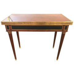 Bronze Mounted Mahogany Card Table by Ralph Lauren with Drawer