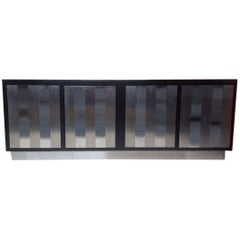 Large Black Laminate and Steel Sideboard, circa 1970, Italy