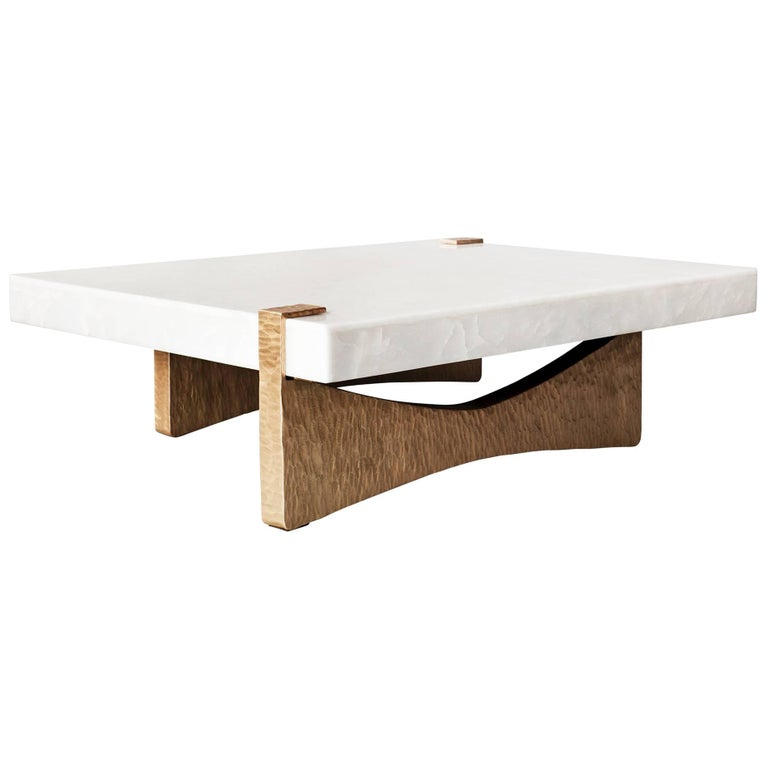 Moore Coffee Table by DeMuro Das in White Onyx with Beaten Bronze Finish Base For Sale