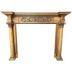 Antique Neoclassical Pine and Lime Wood Georgian Style Fireplace Surround