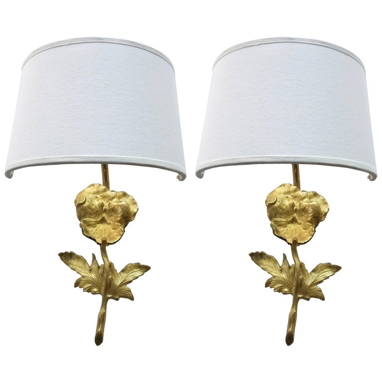 Pair of Émile Guillemard Bronze Sconces