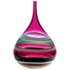 Large Purple handblown Glass Squat Vase by California Designer Caleb Siemon
