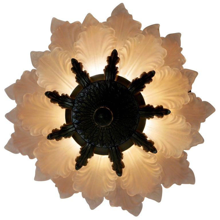 Glass and Brass Flush Mount or Wall Light