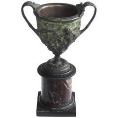 Good Quality Italian Grand Tour Bronze Double-Handled Urn on a Marble Base