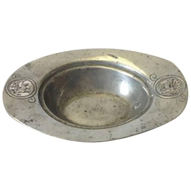 Mogens Ballin Pewter Bowl with Horses #176 For Sale