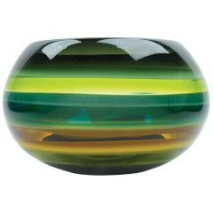 Contemporary American Green Bowl, Blown Glass, Handmade, Sculpture, In Stock