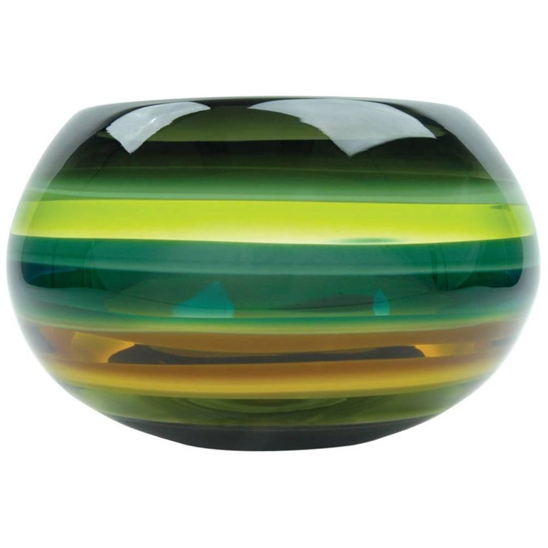 Green Banded Glass Closed Bowl, Hand Blown Glass For Sale