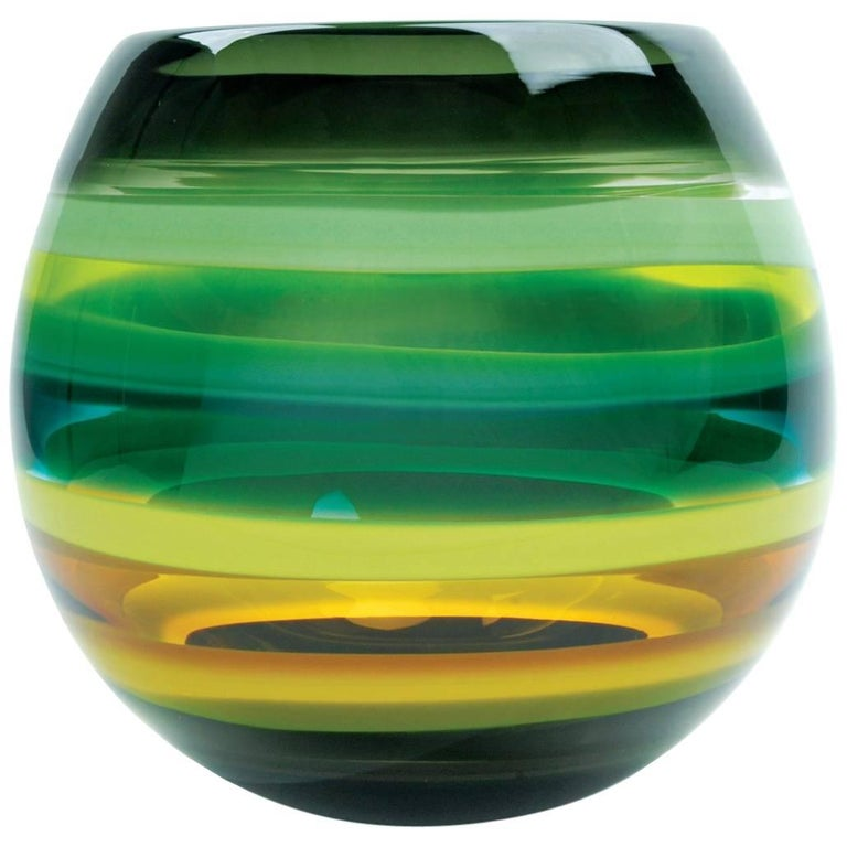 Moss Green Banded Glass Barrel Vase by California Designer Caleb Siemon