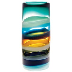Large Blue Banded Glass Cylinder Vase by Siemon and Salazar