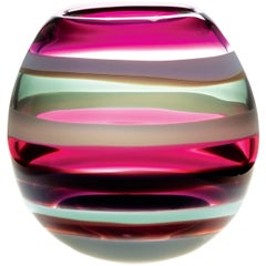 Contemporary American Amethyst Barrel Vase, Blown Glass, Sculpture, In Stock