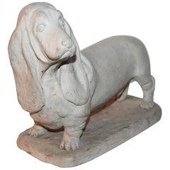 Handmade Dachshund Pottery Dog Statue