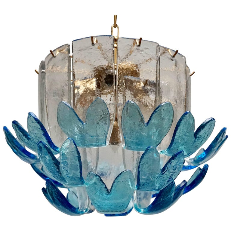Two Rare Murano Glass Chandeliers by Alfredo Barbini For Sale