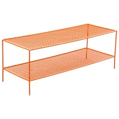 Retro Minimalist Shoe Rack or Shelving Unit Refinished in Orange