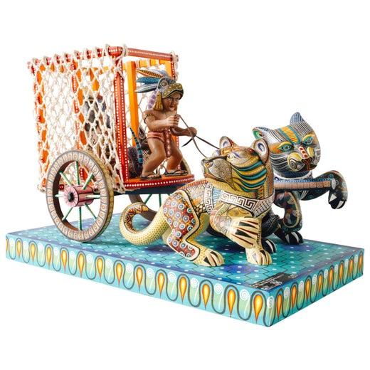 Mexican Folk Art Woodcarving Alebrijes Jaguar Wagon