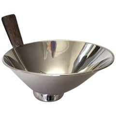 Modern Cohr Sterling Silver Bowl with Wooden Handle