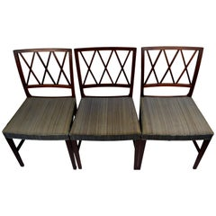 Three Early Midcentury Rosewood Dining Chairs by Ole Wanscher, A.J. Iversen