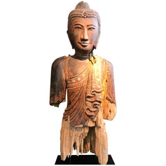 Thai Wooden Buddha Head Sculpture, 19th Century