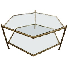 Six-Sided Brass and Glass Coffee Table