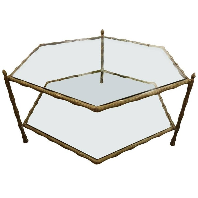 SixSided Brass And Glass Coffee Table For Sale At Stdibs - Six sided table