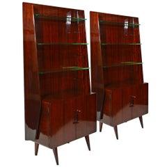 Pair of Midcentury Italian Mahogany Bookshelves by Silvio Cavatorta