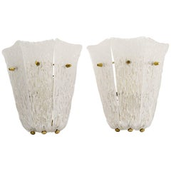 2 Kalmar wall sconces around 1950s ( fosted glass)