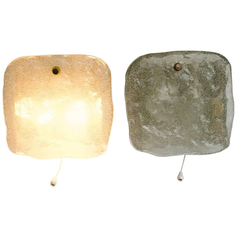 2 Kalmar nickel wall sconces around 1950s ( fosted glass) For Sale