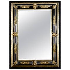 Fine and Impressive Napoléon III Gilt-Bronze and Ebony Bevelled Mirror