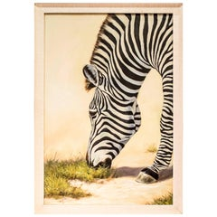 "Midcentury Chinese Signed  "" Zebra"" Oil on Canvas"