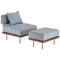 Bespoke Outdoor Lounge Chair and Ottoman, Reclaimed Hardwood by P. Tendercool