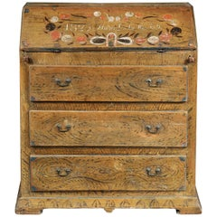 Remarkable Folk Art Paint Decorated Writing Desk/ Bureau