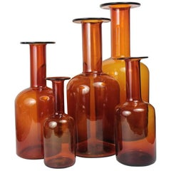 Set of Five Amber Glass Gulvase by Otto Bauer for Kastrup Holmegaard