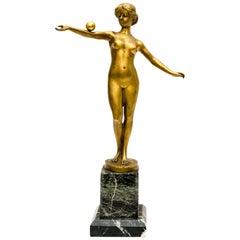 "Julius Paul Schmidt-Felling ""Nude Woman with Ball"", Gilted Bronze Figurine"