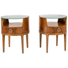 Pair of Mahogany and Glass Bedside Tables by Axel Larsson