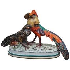 Sculpture Pheasants Porcelain Guido Cacciapuoti