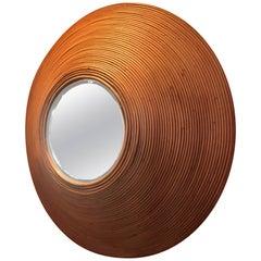 Strikingly Large Impressive Circular Rattan Mirror